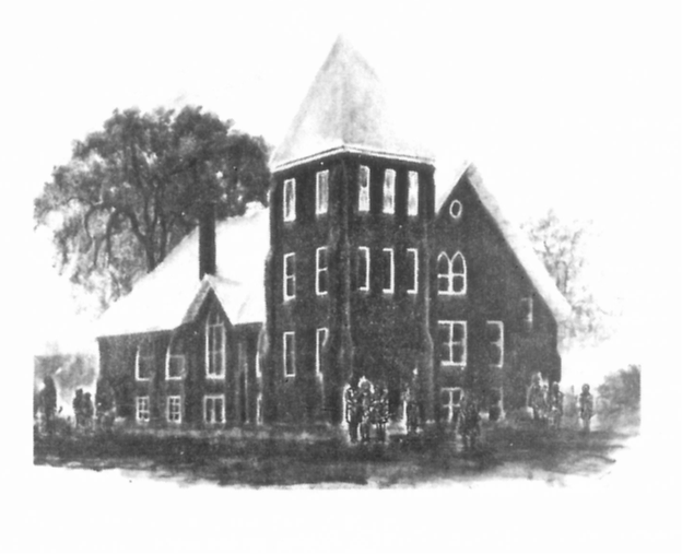 An artists drawing of our church building at the corner of Burdick and Ransom